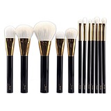 JESSUP 12 pcs white hair brush set coffee/gold T100 - FÉLPROFI SMINKECSETKÉSZLET ARCRA SZEMRE