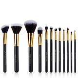 JESSUP 12 pcs synthetic hair brush set black/gold T085 - FÉLPROFI SMINKECSETKÉSZLET ARCRA SZEMRE