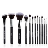 JESSUP 12 pcs synthetic hair brush set black/silver T066 - FÉLPROFI SMINKECSETKÉSZLET ARCRA SZEMRE