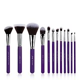 JESSUP 12 pcs synthetic hair brush set purple/silver T087 - FÉLPROFI SMINKECSETKÉSZLET ARCRA SZEMRE