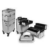 SUNRISE ALU Makeup Case Trolley NEW YORK - 2 az 1-ben PROFESSZIONÁLIS BEAUTY TORONY