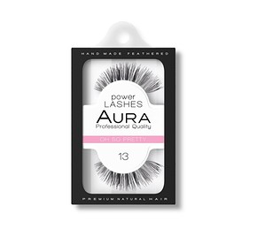 AURA Power Lashes False Eyelashes 13 Oh So Pretty - SOROS MŰSZEMPILLA 100% NATURAL